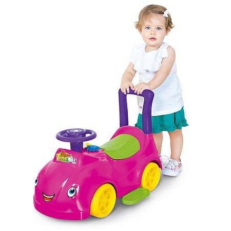 Carrinho Andador Rosa C/ Empurrador e Porta Treco - Cotiplás