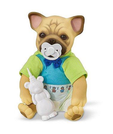 Bebê Pet Filhotinho Reborn - Cachorro Pug - Faz Xixi - Roma