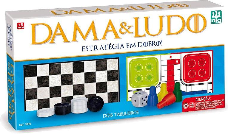 Jogo De Dama E Ludo - 2 Jogos - Estratégia Em Dobro - Nig