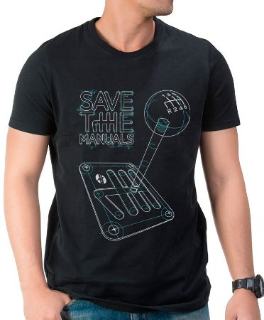 Camiseta Save the Manuals (preta) | AUTOentusiastas