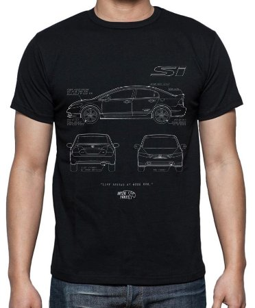 Camiseta Civic SI (preta)| Interlakes