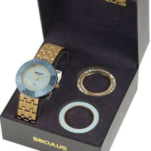 Relógio Seculus Feminino 20598lpsvds2 Kit Versatile Com Aros Extra