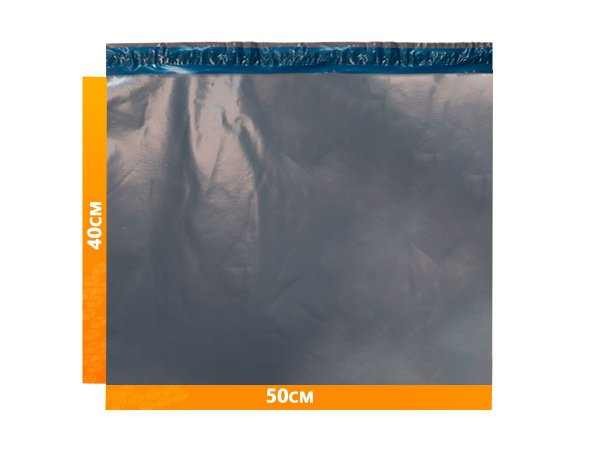 Envelope Plástico Express com Lacre de Segurança  -  Cinza 50x40cm   50 x 40 cm