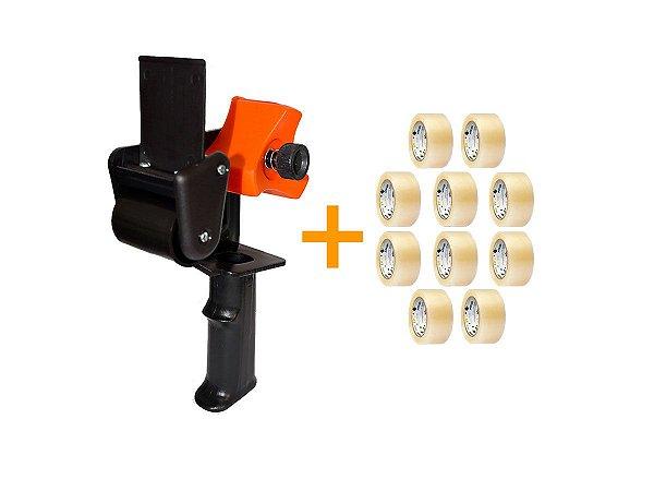 Kit - Suporte Aplicador  de Fita Adesiva Grande + 10 Fitas adesivas transparente