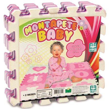 Tapete em EVA - Montapete Baby - Vogais - 9 Peças - Rosa - Nig Brinquedos