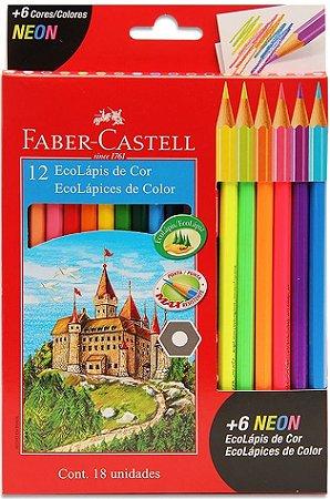 Lápis de Cor - 12 Cores + 6  Cores Neon - Faber Castell