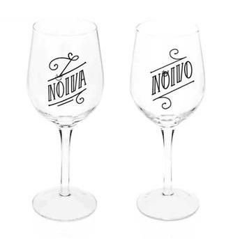 Conjunto de Taças de Vinho Noivos - Vidro - Ludi