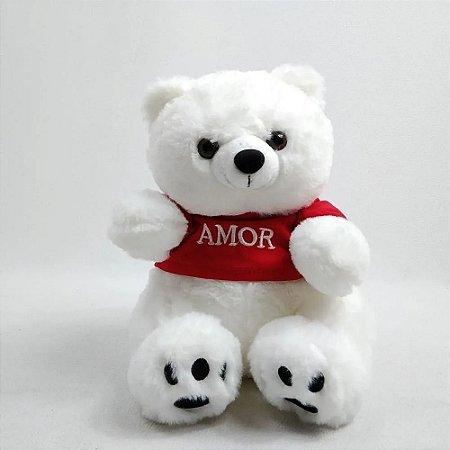Urso Polar de Pelúcia - com Camiseta - Amor - Fizzy