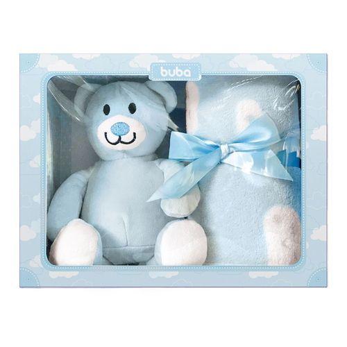 Gift Ursinho - com Cobertor e Manta - Azul - Buba