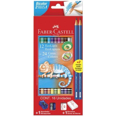 Lápis De Cor - Bicolor  - 12 Unidades/24 Cores + 2 Lápis de escrever - Faber Castell