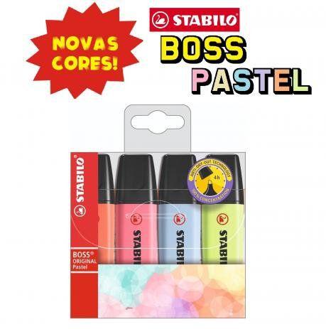 Kit Caneta Marca Texto - 4 Cores Novas - Tons Pastel - Stabilo Boss