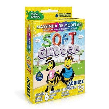 Massa para Modelar - 6 Cores com Glitter - Acrilex