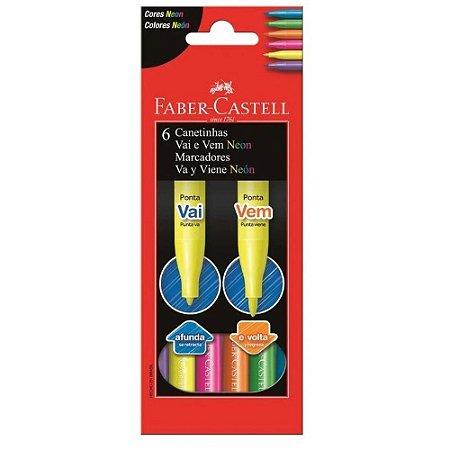 Caneta Hidrográfica - Vai e Vem - Neon - 6 Cores - Faber Castell