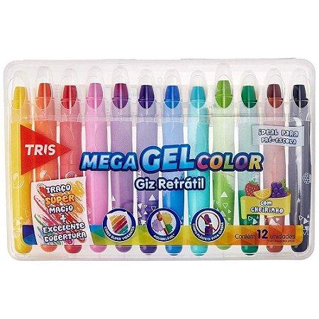 Giz de Cera - Mega Gel Color - Retrátil - com Cheirinho - Tris