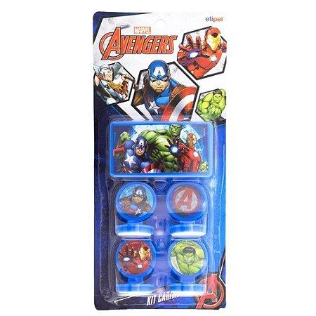 Carimbo com Carimbeira - Vingadores - 4 unidades - Etipel