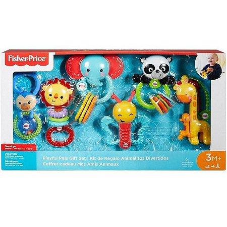 Conjunto 6 Mordedores e Chocalhos - Amiguinhos Animais Divertidos - Fisher Price - Mattel