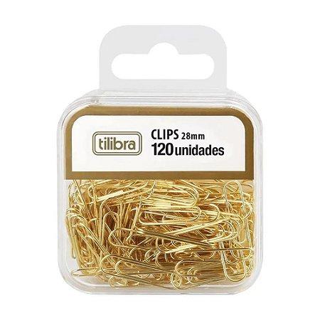 Clips 28mm - Dourado - 120 Unidades - Tilibra