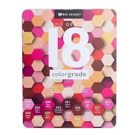 Caixa de Lápis de Cor Profissional - Color Grade - Tons de Rosa - Bee Unique