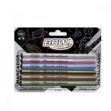 Kit Marcador Permanente - Metalizado - 6 Cores - BRW