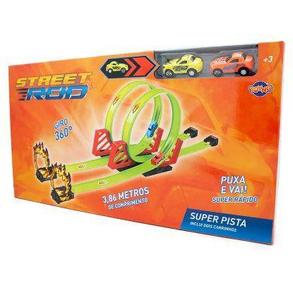 Super Pista Street Rod - Inclui 2 Carrinhos - Toyng