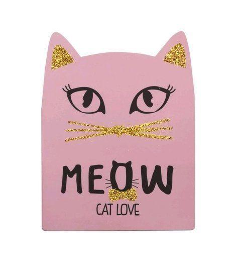 Bloco com Glitter Pautado - Cat Love - Meow - Maxlog
