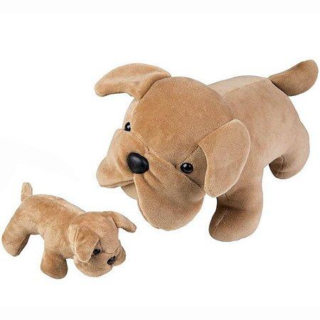 Pelúcia - Bulldog Grávida com 1 filhote - Marrom - Bichos de Pano