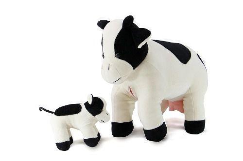 Pelúcia - Vaca Malhada Grávida com 1 filhote - Branco e Preto - Bichos de Pano