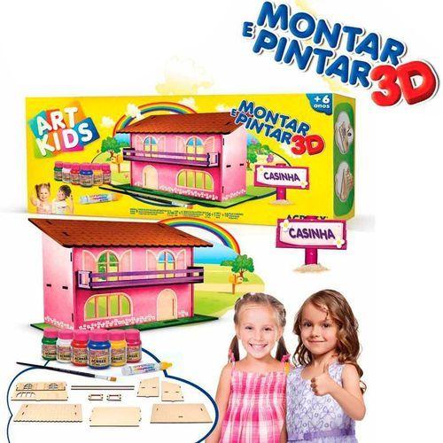 Casinha para Montar e Pintar - 3D - Art Kids - Acrilex