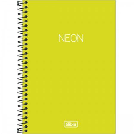 Caderno Espiral - Capa Plástica - 1/4 sem Pauta - Neon Verde Limão - 80 Folhas - Tilibra