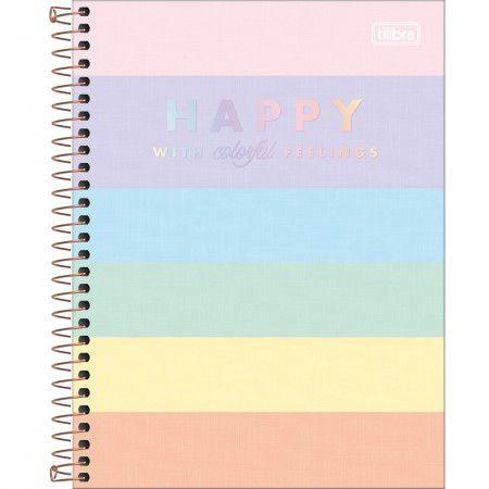 Caderno Espiral - Capa Dura - Colegial 1 Matéria - Colorido - Happy - 80 Folhas - Tilibra