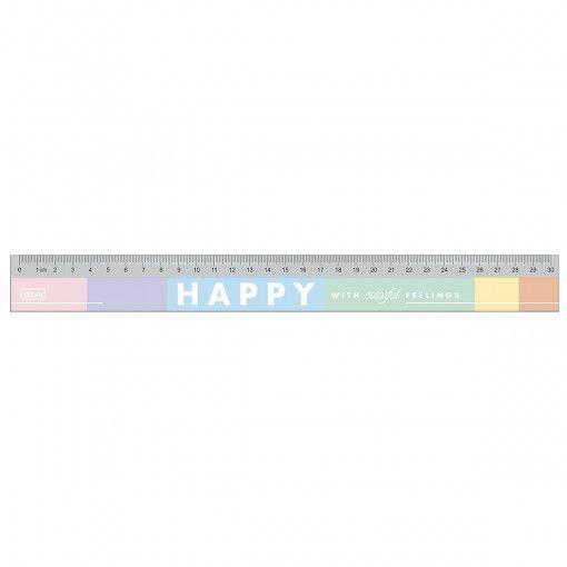 Régua em Poliestireno - 30cm - Happy - Tilibra