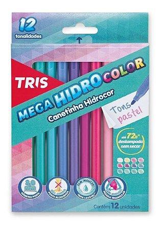 Canetinha Hidrocor - Mega HidroColor - 12 Cores - Tons Pastel - Tris