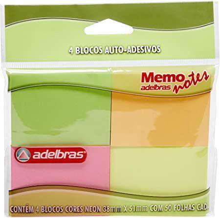 Bloco Adesivo - Memo Notes - 4 cores neon - Adelbras