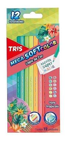 Caixa de Lápis de Cor - Mega Soft Color - 12 Cores - Tons Tropicais - Tris