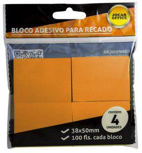 Bloco Auto Adesivo - Post-it - Laranja - 4 Blocos - 38x50mm - Jocar Office - Leonora
