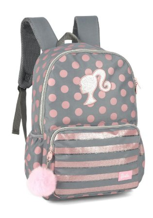 Mochila Notebook - Barbie - Poá - Cinza - Luxcel