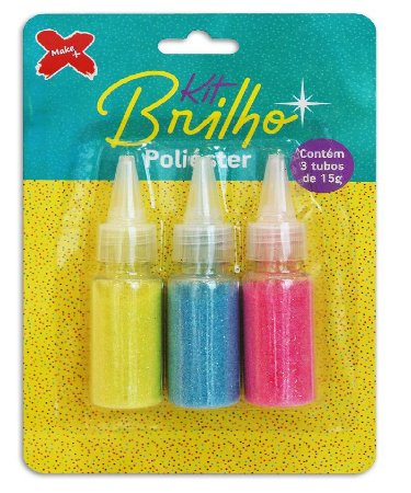 Kit Brilho - Poliéster - Glitter - 3 Cores - Make +