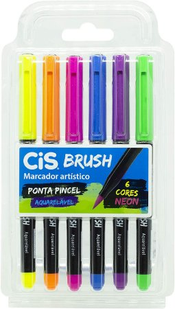 Kit Canetas Brush Pen - Aquarelável - 6 Cores - Neon - Cis