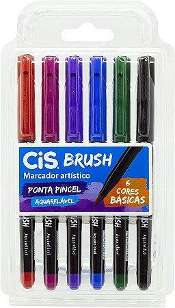 Kit Canetas Brush Pen - Aquarelável - 6 Cores Básicas - Cis