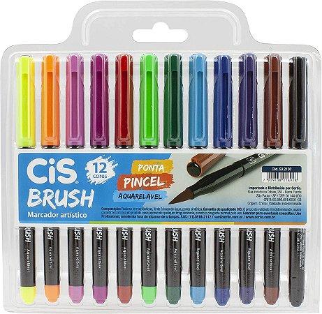 Kit Caneta Brush Pen - Aquarelável - 12 Cores - Cis