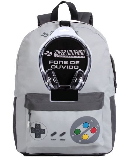 Mochila de Costas + Fone de Ouvido - Super Nintendo - Cinza - DMW