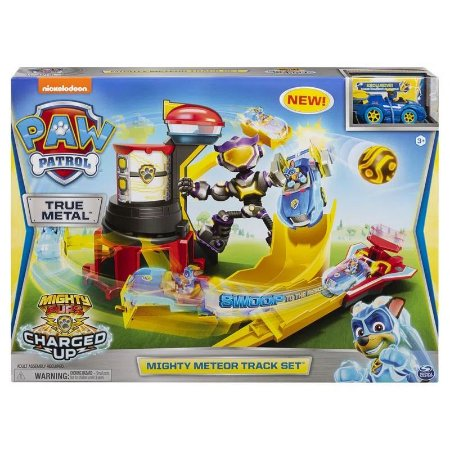 Playset com Veiculo - Meteor Track do Chase - Mighty Pups - Charged Up - Patrulha Canina - Sunny