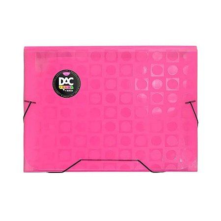 Pasta Sanfonada A4 - 12 Divisórias - Rosa Neon - DAC