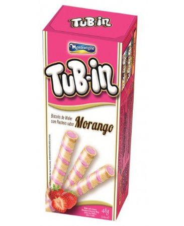 Tubetes Tub-in biscoito wafer recheio morango 48g - Montevergine