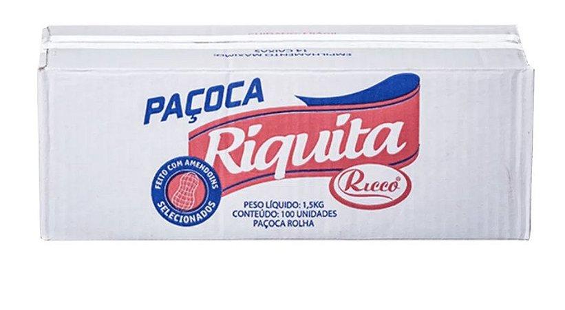 Paçoca Rolha Riquita com 100 unidades de 15g - Ricco