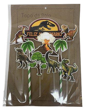 Topper Topo de Bolo Personalizado de Dinossauro Feliz Aniversário