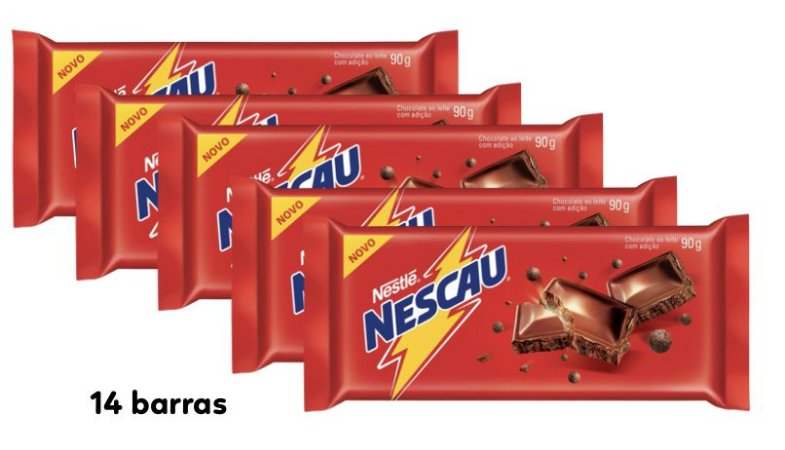 Caixa Chocolate Barra Nescau com 14 unidades de 90g - Nestle