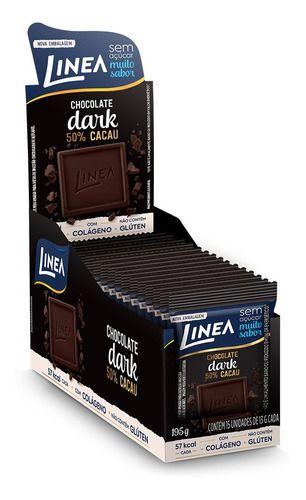 Chocolate Dark 50% Cacau sem açúcar 15 unidades de 13g - Linea