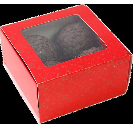 Caixa Vermelha Doce Gourmet 4 Doces Com  10unid (cód. 1598) - Ideia
