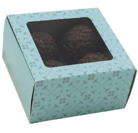 Caixa Turquesa Doce Gourmet 4 Doces 10 Unidades- Ideia